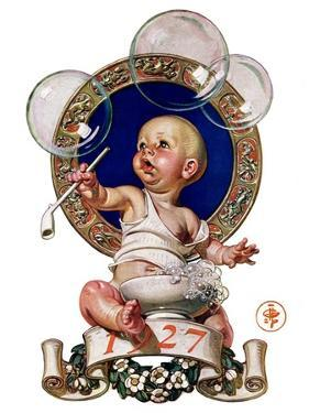 """Blowing Bubbles,""January 1, 1927 by Joseph Christian Leyendecker"