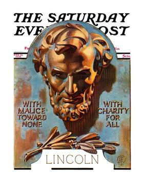 """""""Bronze Lincoln,"""" Saturday Evening Post Cover, February 12, 1938 by Joseph Christian Leyendecker"""