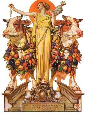 """Ceres and the Harvest,""November 23, 1929 by Joseph Christian Leyendecker"