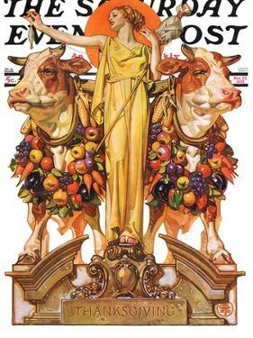 """Ceres and the Harvest,"" Saturday Evening Post Cover, November 23, 1929 by Joseph Christian Leyendecker"