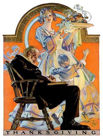 """Childhood Thanksgiving,""November 26, 1927 by Joseph Christian Leyendecker"