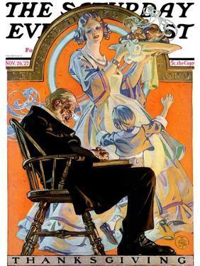 """Childhood Thanksgiving,"" Saturday Evening Post Cover, November 26, 1927 by Joseph Christian Leyendecker"