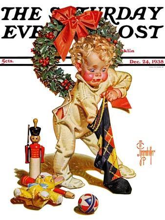 """Christmas Stocking Joy,"" Saturday Evening Post Cover, December 24, 1938"