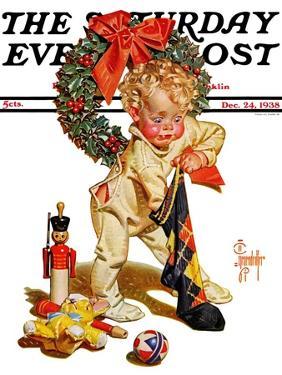 """Christmas Stocking Joy,"" Saturday Evening Post Cover, December 24, 1938 by Joseph Christian Leyendecker"