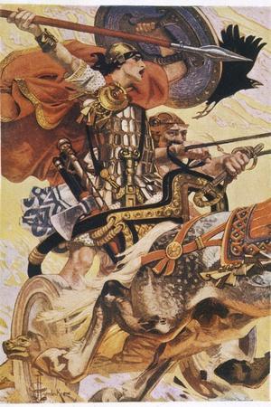 Cuchulain (Cu Chulainn) Rides His Chariot into Battle