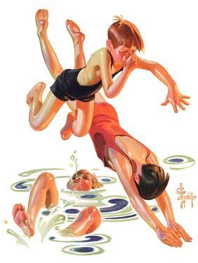 """Diving In,""June 8, 1935 by Joseph Christian Leyendecker"