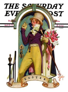 """""""Easter Bouquet,"""" Saturday Evening Post Cover, April 20, 1935 by Joseph Christian Leyendecker"""