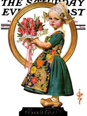 """Easter Dutch Girl,"" Saturday Evening Post Cover, April 3, 1926 by Joseph Christian Leyendecker"