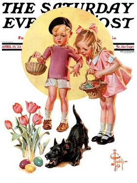 """Easter Egg Hunt,"" Saturday Evening Post Cover, April 15, 1933 by Joseph Christian Leyendecker"