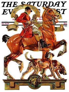 """Fall Foxhunting,"" Saturday Evening Post Cover, October 19, 1929 by Joseph Christian Leyendecker"