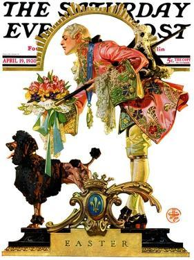 """Fop, Dog, and Flowers,"" Saturday Evening Post Cover, April 19, 1930 by Joseph Christian Leyendecker"