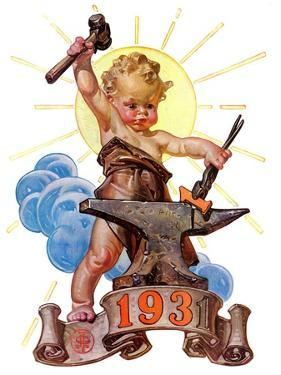 """Forging a New Year,""December 27, 1930 by Joseph Christian Leyendecker"