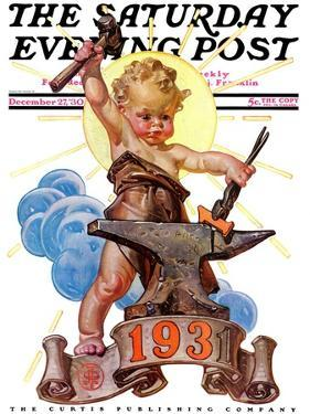 """Forging a New Year,"" Saturday Evening Post Cover, December 27, 1930 by Joseph Christian Leyendecker"