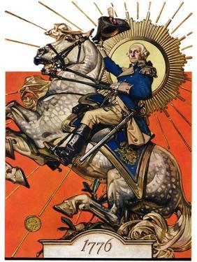 """George Washington on Horseback,""July 2, 1927 by Joseph Christian Leyendecker"