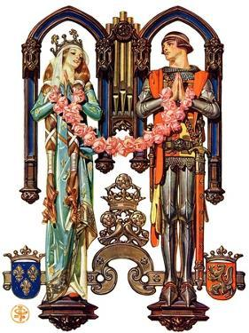 """""""Henry V and His French Bride,""""July 26, 1930 by Joseph Christian Leyendecker"""
