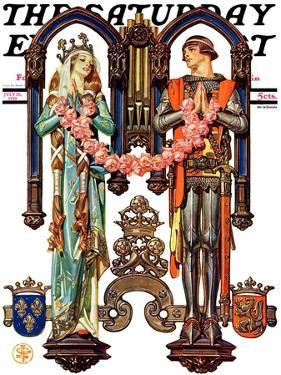 """Henry V and His French Bride,"" Saturday Evening Post Cover, July 26, 1930 by Joseph Christian Leyendecker"