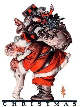 """Hug from Santa,""December 26, 1925 by Joseph Christian Leyendecker"
