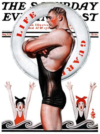 """""""Lifeguard, Save Me!,"""" Saturday Evening Post Cover, August 9, 1924 by Joseph Christian Leyendecker"""