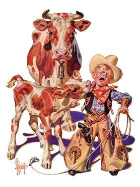 """Little Cowboy Takes a Licking,""August 20, 1938 by Joseph Christian Leyendecker"
