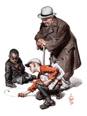 """""""Marbles Game,""""March 28, 1925 by Joseph Christian Leyendecker"""
