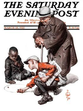 """""""Marbles Game,"""" Saturday Evening Post Cover, March 28, 1925 by Joseph Christian Leyendecker"""