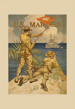Marines Signaling from Shore to Ships at Sea