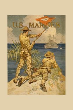 Marines Signaling from Shore to Ships at Sea by Joseph Christian Leyendecker