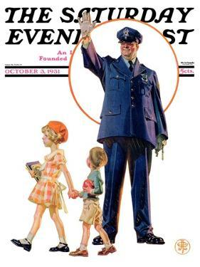 """""""Policeman and School Children,"""" Saturday Evening Post Cover, October 3, 1931 by Joseph Christian Leyendecker"""