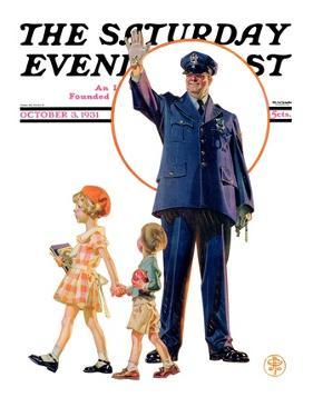 """Policeman and School Children,"" Saturday Evening Post Cover, October 3, 1931 by Joseph Christian Leyendecker"