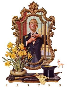 """Primping in Mirror,""April 11, 1936 by Joseph Christian Leyendecker"