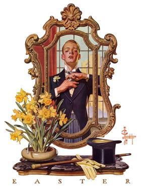 """Primping in Mirror,""April 11, 1936 by Joseph Christian Leyendecker"
