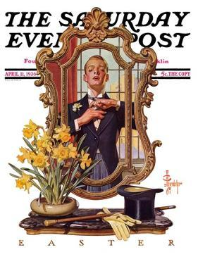 """""""Primping in Mirror,"""" Saturday Evening Post Cover, April 11, 1936 by Joseph Christian Leyendecker"""