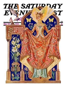 """""""Queen of Spring,"""" Saturday Evening Post Cover, May 23, 1931 by Joseph Christian Leyendecker"""