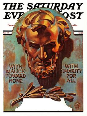 """Re -print of ""Bronze Lincoln"","" Saturday Evening Post Cover, February 1, 1976 by Joseph Christian Leyendecker"