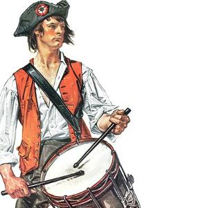 """""""Re-print of """"Colonial Drummer"""","""" July/Aug 1976 by Joseph Christian Leyendecker"""