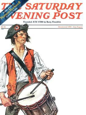 """Re-print of ""Colonial Drummer"","" Saturday Evening Post Cover, July/Aug 1976 by Joseph Christian Leyendecker"
