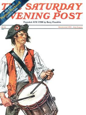 """""""Re-print of """"Colonial Drummer"""","""" Saturday Evening Post Cover, July/Aug 1976 by Joseph Christian Leyendecker"""