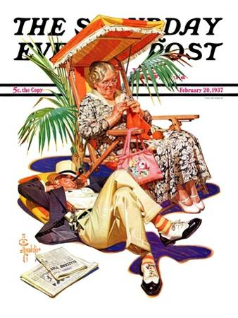 """""""Retired Couple at Beach,"""" Saturday Evening Post Cover, February 20, 1937 by Joseph Christian Leyendecker"""