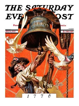 """""""Ringing Liberty Bell,"""" Saturday Evening Post Cover, July 6, 1935"""