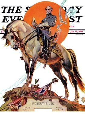 """Robert E. Lee on Traveler,"" Saturday Evening Post Cover, January 20, 1940 by Joseph Christian Leyendecker"