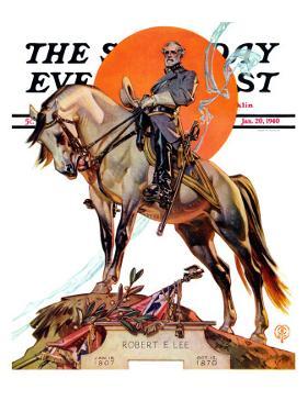 """Robert E. Lee on Traveler,"" Saturday Evening Post Cover, January 20, 1940 by Joseph Christian Leyendecker"