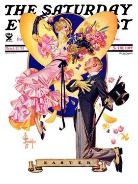"""""""Romantic Easter,"""" Saturday Evening Post Cover, March 31, 1934 by Joseph Christian Leyendecker"""