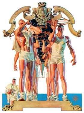 """Rowing Team,""August 6, 1932 by Joseph Christian Leyendecker"