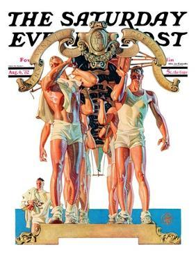 """""""Rowing Team,"""" Saturday Evening Post Cover, August 6, 1932 by Joseph Christian Leyendecker"""
