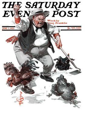 """Shoo Chickens !,"" Saturday Evening Post Cover, June 2, 1923 by Joseph Christian Leyendecker"