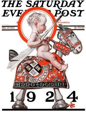 """Sir Baby New Year,"" Saturday Evening Post Cover, December 29, 1923 by Joseph Christian Leyendecker"