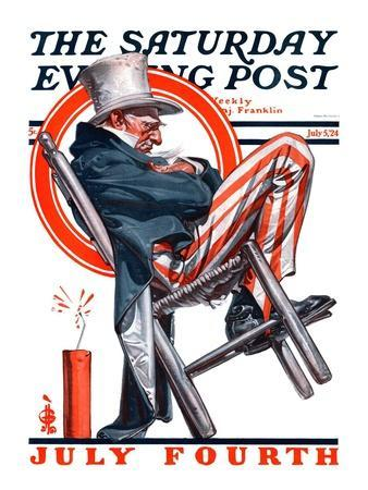 """""""Sleeping Uncle Sam,"""" Saturday Evening Post Cover, July 5, 1924"""
