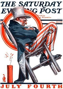 """Sleeping Uncle Sam,"" Saturday Evening Post Cover, July 5, 1924 by Joseph Christian Leyendecker"