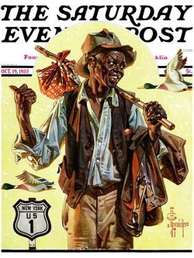 """""""Southbound Hitchhiker,"""" Saturday Evening Post Cover, October 19, 1935 by Joseph Christian Leyendecker"""