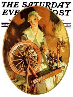 """""""Spinning Wheel,"""" Saturday Evening Post Cover, March 14, 1931 by Joseph Christian Leyendecker"""